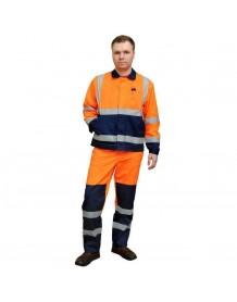 Костюм мужской летний ДОРОЖНИК оранжевый/синий (куртка+полукомбинезон)